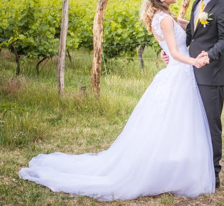 Krajkové bílé svatební šaty 34-36, 36