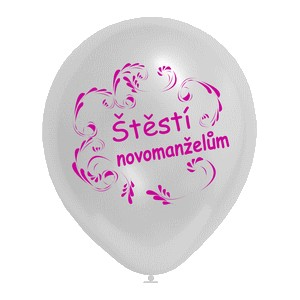 nafukovací balonek stříbrný - Štěstí novomanželům,