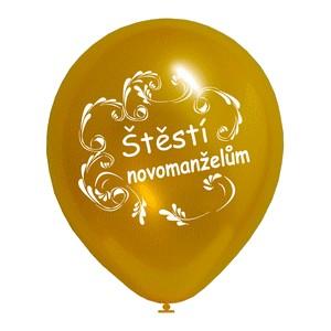 nafukovací balonek zlatý, Štěstí novomanželům,