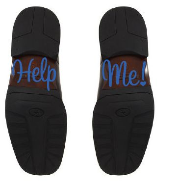 "Nálepka na boty ženicha ""Help Me"" ,"