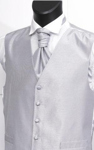 pánská (chlapecká) svatební vesta stříbrná, 52