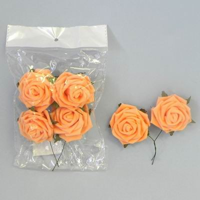 pěnové růžičky oranžové, vel. 3 cm,