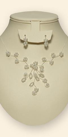 Perličková souprava, náhrdelník + náušnice, bílá,