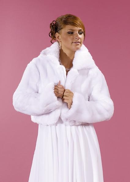 svatební kožíšek bílý,