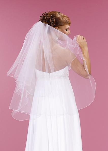 závoj svatební bílý, délka 75 cm, hladký,
