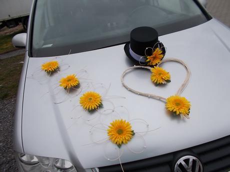 Dekorace na auta, gerbery,