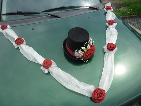 Sada na auto ženicha, kaly a růže - barva na přání,