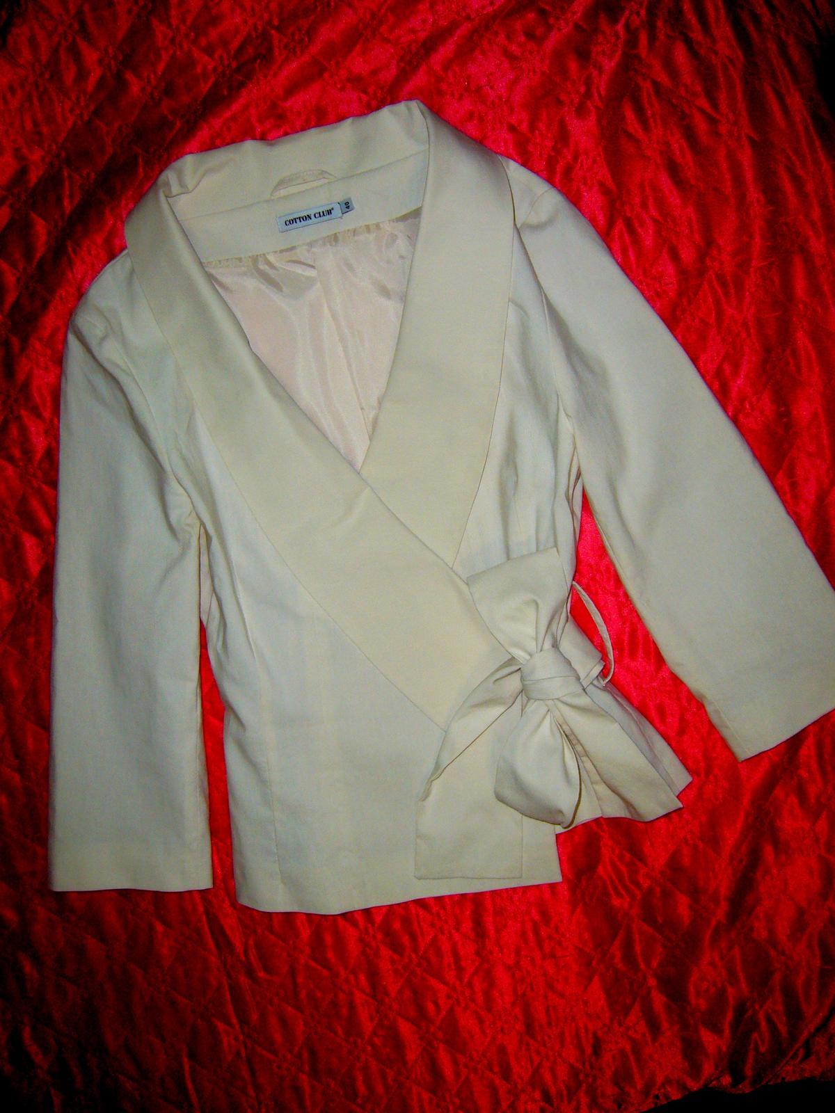 Kvalitné bavlnené sako pre nevestičku 87a04e18d30