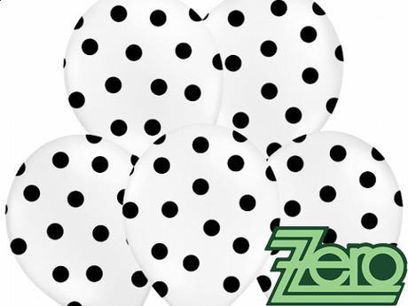 Balónky nafukovací Ø 36 cm (5 ks) - bílé s puntíky,