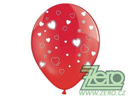 Balónky nafukovací Ø 36 cm (5 ks) - červená+tisk,