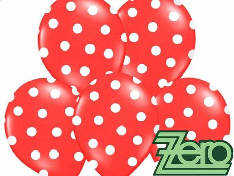 Balónky nafukovací Ø 36 cm (5ks)-červené s puntíky,