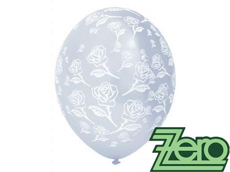 Balónky nafukovací Ø 36 cm čirý s růžemi (5 ks),
