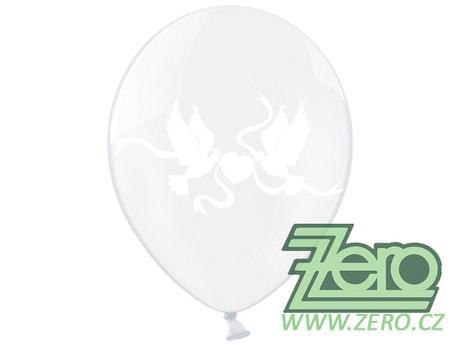 Balónky nafukovací Ø 36 metal čirý s holuby (5 ks),