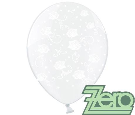 Balónky nafukovací Ø 36 transp. s růžemi (5 ks),