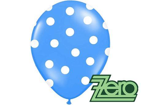 Balónky nafukovací Ø 36cm (5 ks) - modré s puntíky,