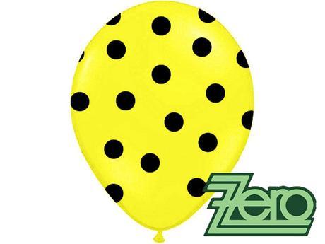 Balónky nafukovací Ø 36cm (5 ks) - žluté s puntíky,