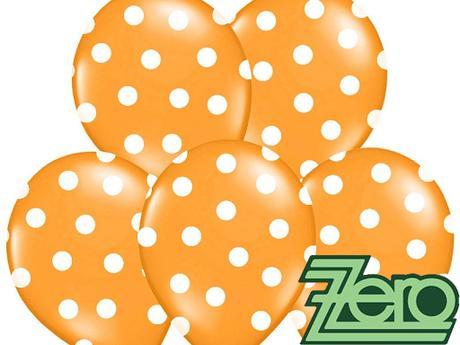 Balónky nafukovací Ø 36cm (5ks)-oranžové s puntíky,