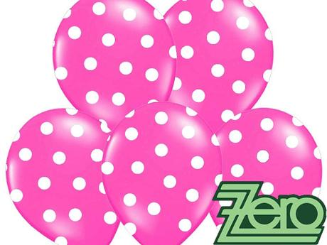 Balónky nafukovací Ø 36cm (5ks) - růžové s puntíky,