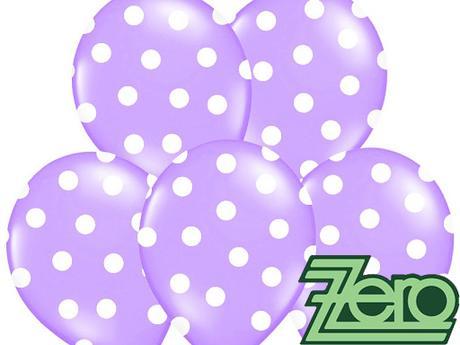 Balónky nafukovací Ø36cm (5ks) - fialové s puntíky,