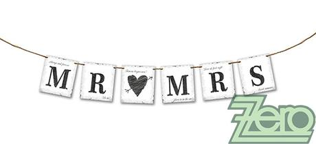 """Baner svatební """"Mr & Mrs"""" 77 cm,"""