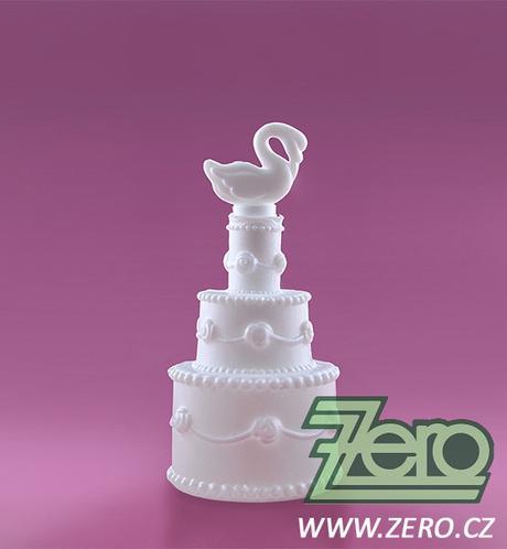 Bublifuk ve tvaru svatebního dortu s labutí,