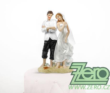 """Figurka na dort """"novomanželé"""" - na pláži,"""