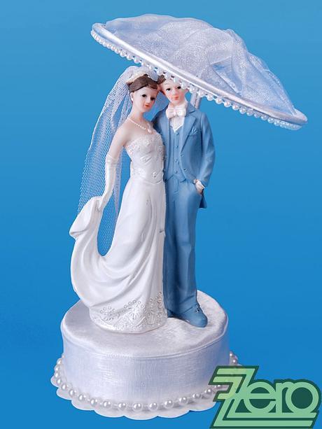 """Figurka na dort """"novomanželé pod deštníkem"""","""