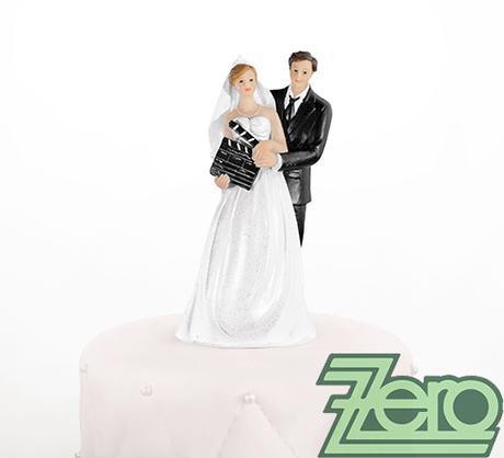 """Figurka na dort """"novomanželé"""" s filmovou klapkou,"""