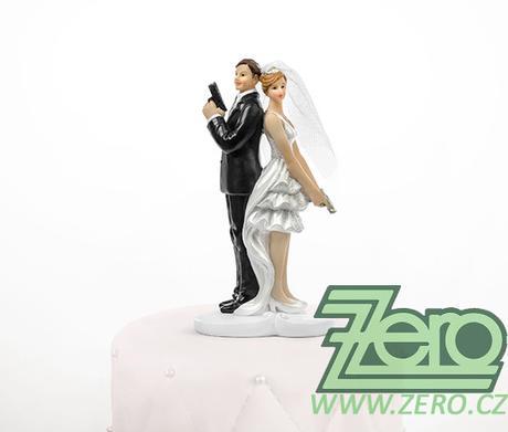 """Figurka na dort """"novomanželé"""" - tajní agenti,"""