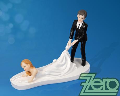 """Figurka na dort """"ženich táhnoucí nevěstu za nohu"""","""