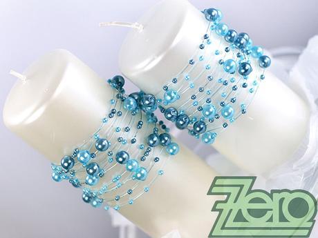 Girlanda z perel 5 ks x 130 cm - ocelově modrá,