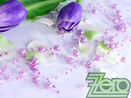 Girlanda z perel 5 ks x 130 cm - růžovo-fialová,