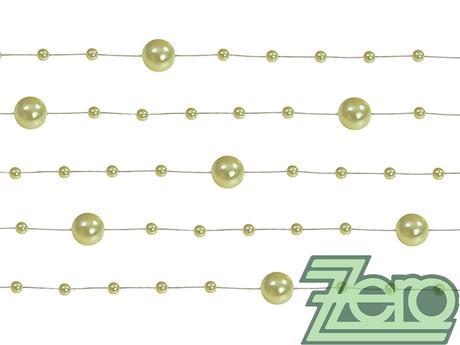 Girlanda z perel 5 ks x 130 cm - sv. olivová,