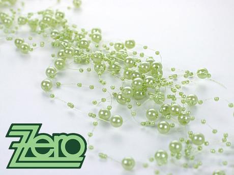Girlanda z perel 5 ks x 130 cm - světle zelená,