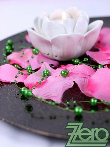 Girlanda z perel 5 ks x 130 cm - zelená,