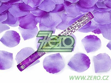 Konfety vystřelovací 60 cm - plátky růží fialové,