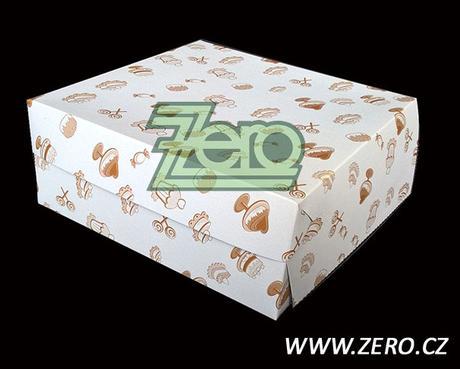 Krabička papírová dortová 22x22 cm - bílá s tiskem,