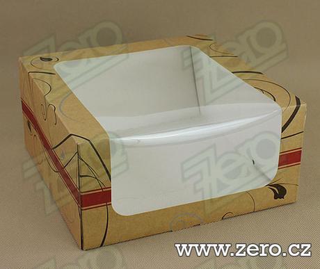 Krabička papírová s okýnkem a tiskem 25x25x12 cm,