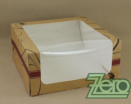 Krabička papírová s okýnkem a tiskem 28x28x13 cm,