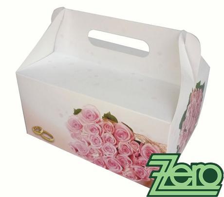 """Krabička papírová s uchem a potiskem """"růží"""","""