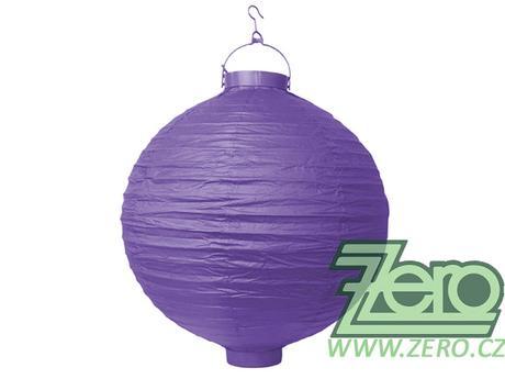 Lampión svítící závěsný papírový pr.30cm - fialový,