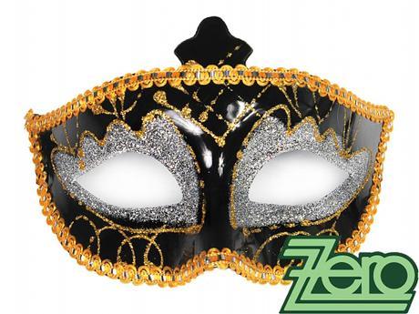 Maska/škraboška - černo-zlato-stříbrná,