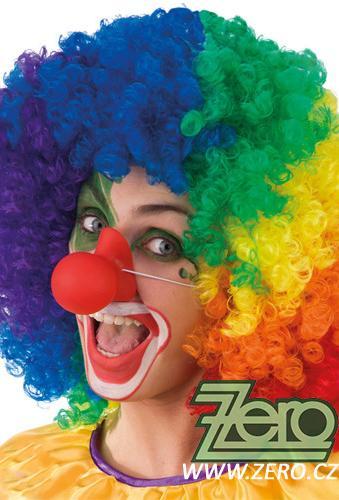 Nos klauna pískací na gumičce  - červený    ,