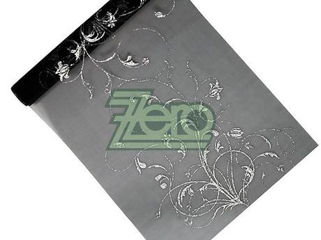 Organza 36 cm x 9 m - černá se stříbrným tiskem,