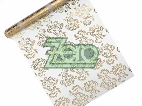 Organza 36 cmx9m-bílá se zlatým a stříbrným tiskem,