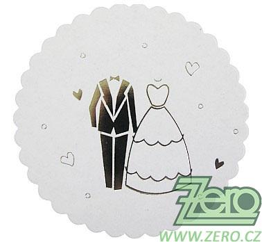Rozetky papírové pod skleničku (24 ks) - svatební,