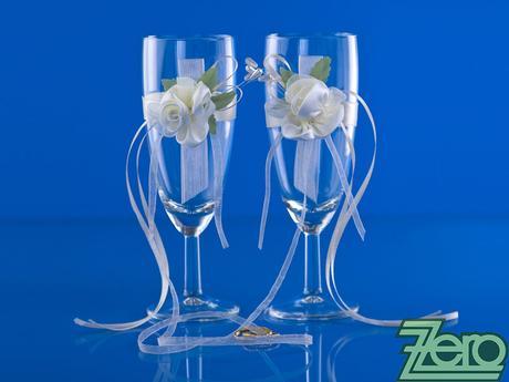 Skleničky pro novomanželé - krémové s růží,