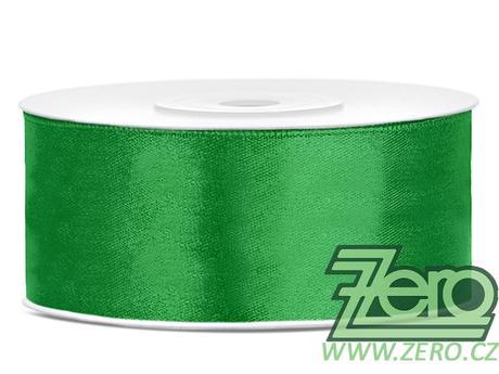 Stuha atlasová 25 mm x 25 m - smaragdová zelená,