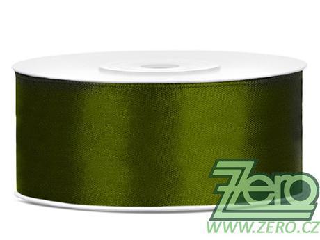 Stuha atlasová 25 mm x 25 m - tm. zelená,