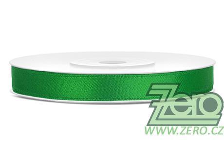 Stuha atlasová 6 mm x 25 m - smaragdová zelená,
